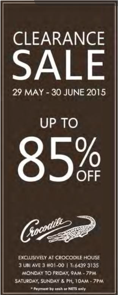 Clearance sale up to 85% off @ Crocodile