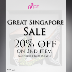 Gripz: 20% discount on second item in a single receipt.