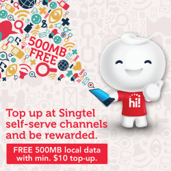 Singtel: Prepaid Mobile user Get 500MB of local data FREE when you top up at self-serve channels
