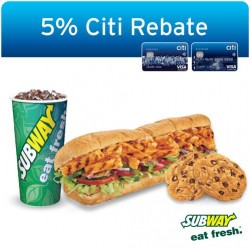 Subway: Get 5% Citi Rebate with minimum spend of S$10