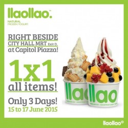 llaollao: 1-for-1 all items from 15 - 17 June 2015 @ Capitol Plaza