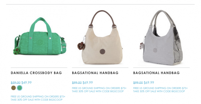 36a3d6e7b The Semi-Annual Sale from US$19.9 with extra 30% off @ Kipling USA ...