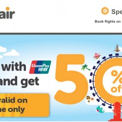 Book with UnionPay and Get 50% OFF @ TigerAir