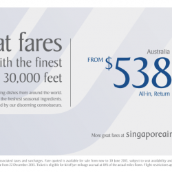 Singapore Airline: Great All-in Fares From S$538