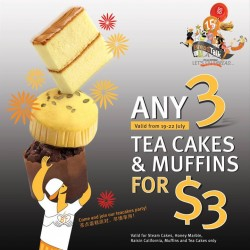 BreadTalk: Get any 3 tea Cake & muffins@ $3 only