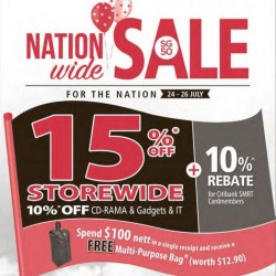Popular: SG 50 National Wide Sale --- 15% OFF Storewide