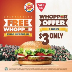 Burger King: Whopper at $3 only