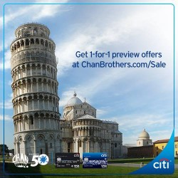 Chan Brothers: 1-for-1 PRIVATE SALE with Citibank