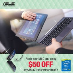 Asus: S$50 OFF any purchase of the Transformer Book Series
