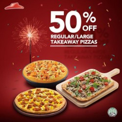 Pizza Hut: 50% off regular/large takeaways pizzas