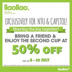 llao llao: 50% Off 2nd Cup