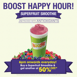Boost Juice Bars: Superfruit Smoothie 2nd One For 50% Off After 6pm