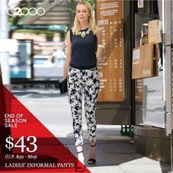 G2000: End of Season Sale $43 (U.P. $59 - $69) Ladies Informal Pants