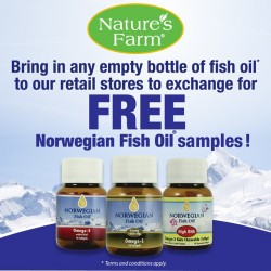 Nature's Farm: Bring any empty bottles of fish oil and receive FREE sample from Norwegian Fish Oil