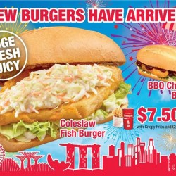 Long John Silver's: Coleslaw fish burger/Juicy BBQ chicken burger with crispy fries and regular Coke/Sprite at $7.50