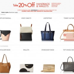Amazon 20% OFF Coupon Code for  handbags & Wallets