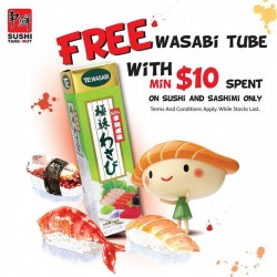 Sushi Take-Out: Free Wasabi Tube with min. $10 Spend on Sushi & Sashimi