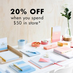 Kikki.K: Get 20% OFF when you spend $50 in store.