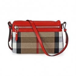 JomaDeals: Burberry Small Canvas Check and Leather Clutch Bag - Cadmium Red US$269