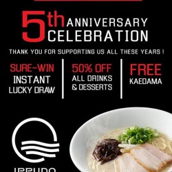Ippudo: Sure-Win Instant Lucky Draw, 50% off All Drinks & Desserts & Free Kaedama
