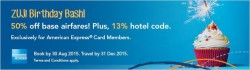 ZUJI: 50% off Base Airfares + 13% Hotel Code