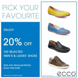 ECCO Shoes: 20% off on Selected Men's & Ladies' Shoes