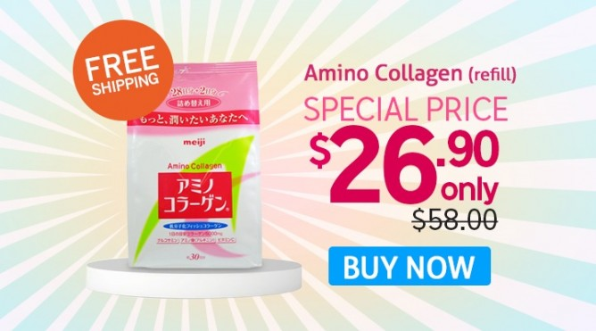 Till 31th Aug 2015 Rakuten: $26.90 ONLY Meiji Amino Collagen 214g Refill, Free Shipping to Singapore