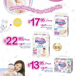 Merries: $3 to $4 off diaper packs