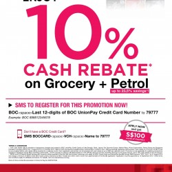 Bank of China Union Cards Special: up to 10% Cash Rebate on grocery and petrol