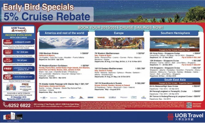UOB Travel: Early Bird Specials 5% Cruise Rebate