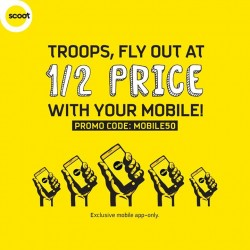 FlyScoot: Troops, Fly Out At 50% OFF Price -- with your Mobile