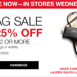 Macys: Take an Extra 25% OFF coupon code for Handbags