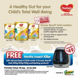 Dumex: Novita Insect Killer with $100 of Dumex Mamil Gold 800g/850g/900g purchased