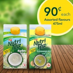 7-Eleven: Nutri Tea Assorted flavours 475ml @ 90 Cents only