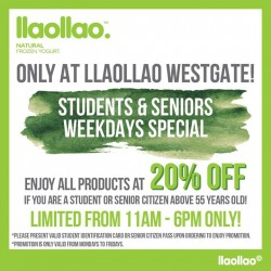 llaollao: 20% OFF for Students & Seniors Weekdays Special