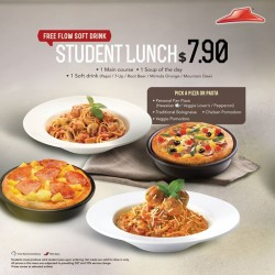 Pizza Hut: Student Lunch @$7.90 with free flow soft drink