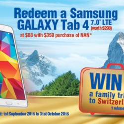 Nestle: Redeem Samsung Galaxy Tab 4 at $88 with $350 purchase of NAN