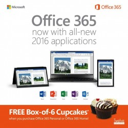 Challenger: Office 365 New Application 2016 @Free Box of 6 Cupcakes