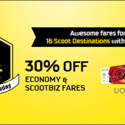 Scoot: Take 30% OFF on selected Economy and ScootBiz via Coupon Code