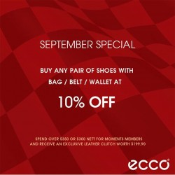 ECCO Shoes: Buy any Pair of Shoes with Bag/Belt/ Wallet @10% OFF