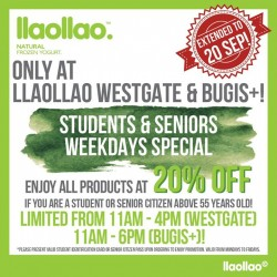 llaollao: 20% OFF only for Students & Seniors Weekdays Special