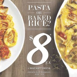Pastamania: Pasta or Baked Rice with Drink at $8 only!