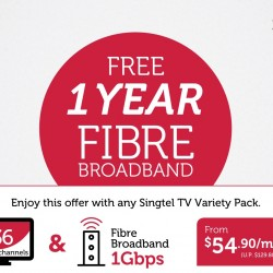 Singtel: Free 1 Year of Fibre Broadband with any Singtel TV Variety Pack