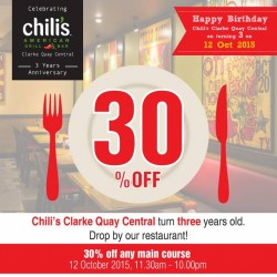 Chili's: Clarke Quay Central turns 3years Old Today and Get Up to 30% OFF.