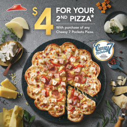 Pizza Hut: 2nd Pizza with Purchase of any Cheesy 7 Pockets Pizza @ $4