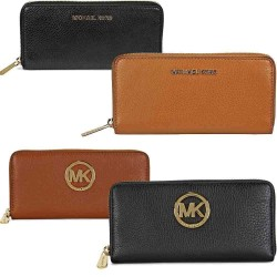 eBay: Michael Kors Bedford / Fulton Leather Zip Around Continental Wallet