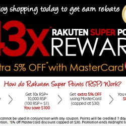 Rakuten: Up to 43X Rakuten Super Points Reward + Extra 5% OFF with MasterCard