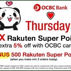 Rakuten: OCBC Thursday 10X Rakuten Super Points + extra 5% OFF with OCBC Cards