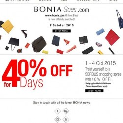 Bonia: Take 40% OFF via Coupon Code--Bonia Goes.com
