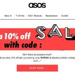 ASOS: extra 10% OFF storewide coupon code